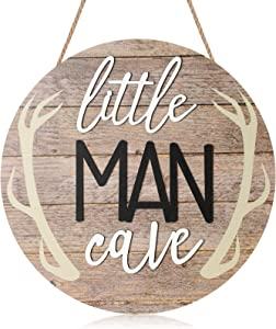 Blulu Little Man Cave Wooden Wall Sign 12 x 12 Inch Little Man Cave Hanging Wall Decor Wood Boys Room Wall Decor Wood Round Wall Sign Rustic Round Wooden Wall Sign Decor for Kids Bedroom Decor