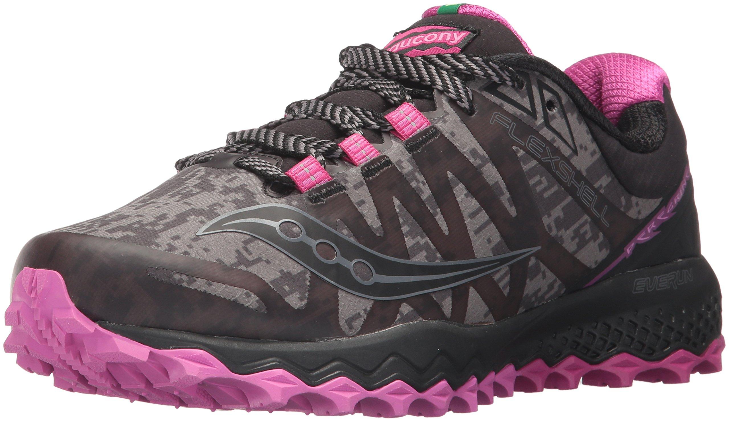 Saucony Women's Peregrine 7 Runshield Running Shoe, Black Pink, 5.5 Medium US