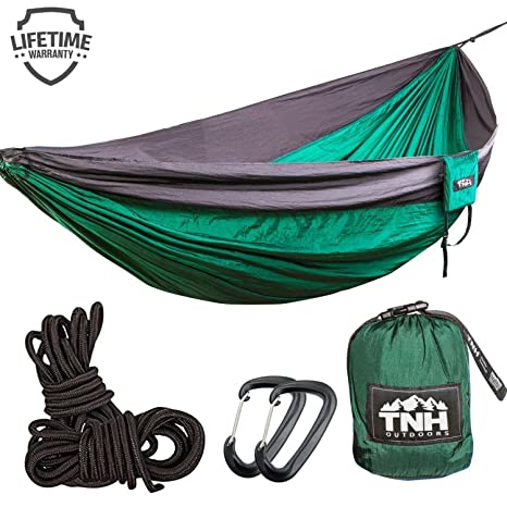 1 premium double camping hammock by tnh outdoors   premium quality hammock   strongest 9ft amazon    double  u0026 single camping hammocks   lightweight nylon      rh   amazon
