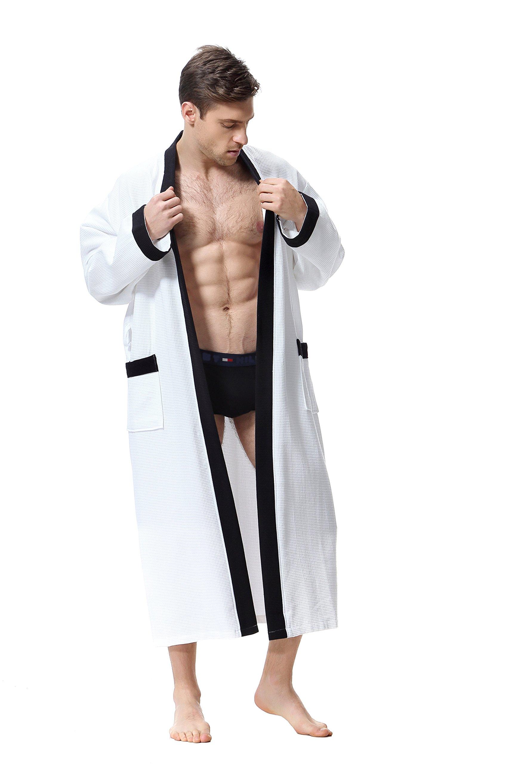 OUFANG Men's Robe - White/Black Kimono Waffle Spa Bathrobe, Over Knee Length Unisex (Medium)