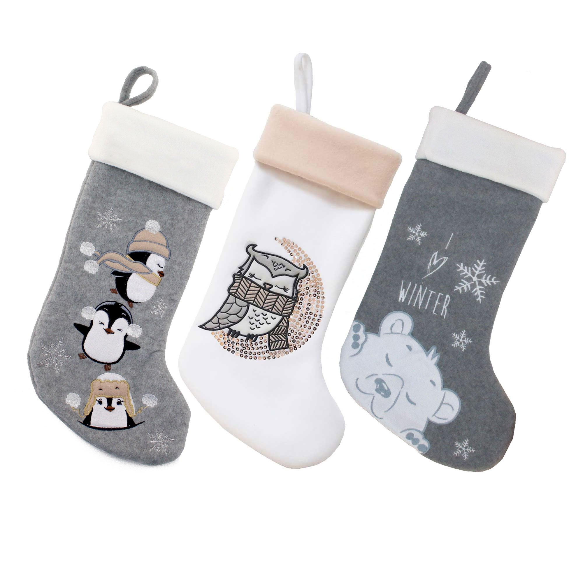 BambooMN 3 Pcs Set 18'' Classic Hand Embroidered Sequined Cute Animal Chirstmas Stocking, Assortment 96