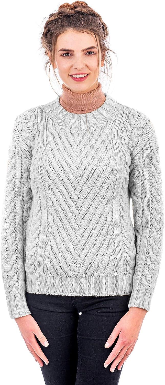 SAOL 100% Merino Wool Warm Round Neck Irish Aran Cable