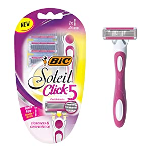 BIC Soleil Click 5 Women's 5-Blade Disposable Razor, 1 Handle and 3 Cartridges