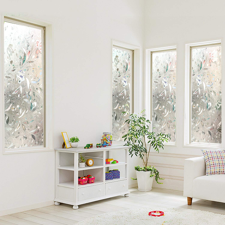 90 X 200 cm Sun Blocking No Glue 3D Frosted Flowers Static Window Film Privacy Window Films for Glass Uv and Heat Home Kitchen Office/Bathroom Joypea-Window Film Decorative 35 X 78 inch