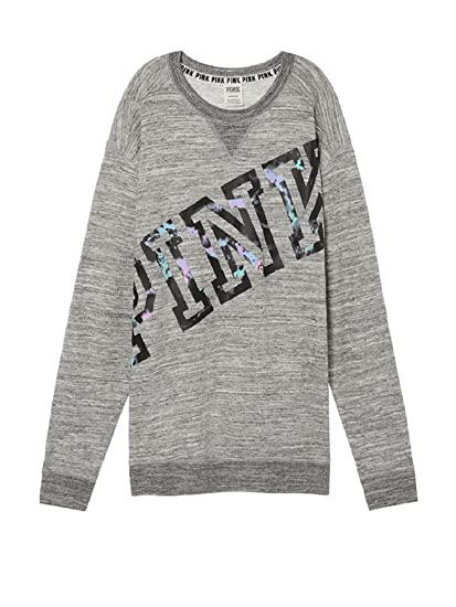 cb0d79198f00d Victoria's Secret PINK Campus Crew Sweatshirt Grey Black Marble- XS ...