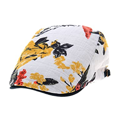 bb3d9d4eead WITHMOONS Flowral Leaf Pattern Newsboy Hat Flat Cap LD3723 (Yellow ...