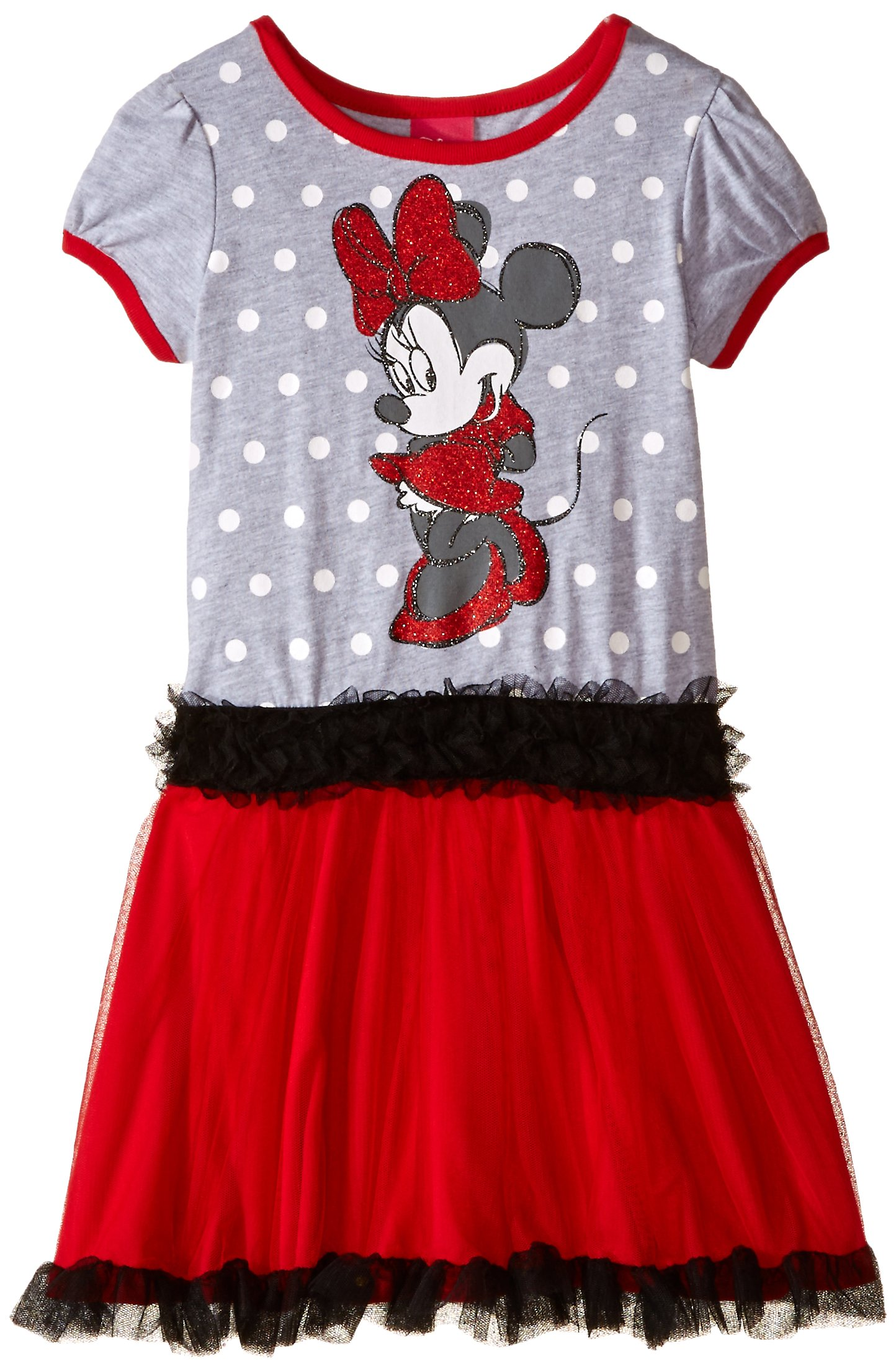 Disney Little Girls' Minnie Dot Print Tutu Dress, Heather Grey, 5