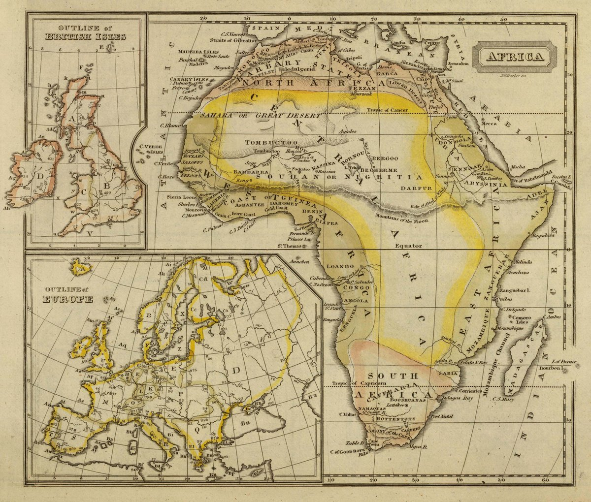 1828 School Atlas   Africa. J.W. Barber sc. (with) Outline of British Isles. (with) Outline of Europe. (Published by Richardson & Lord.   Antique Vintage Map Reprint