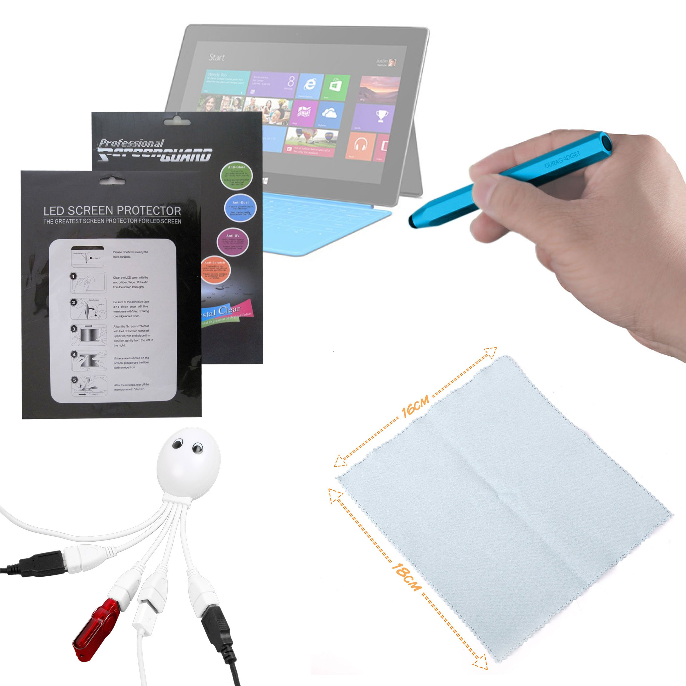 DURAGADGET Microsoft Surface Windows RT Accessory Kit: High Quality Microsoft Surface (8GB, 16GB, 32GB, 64GB, 128GB) 10.6'' Clear Screen Protector + BONUS : Blue Chunky Stylus + Cleaning Cloth + Octopus USB Hub