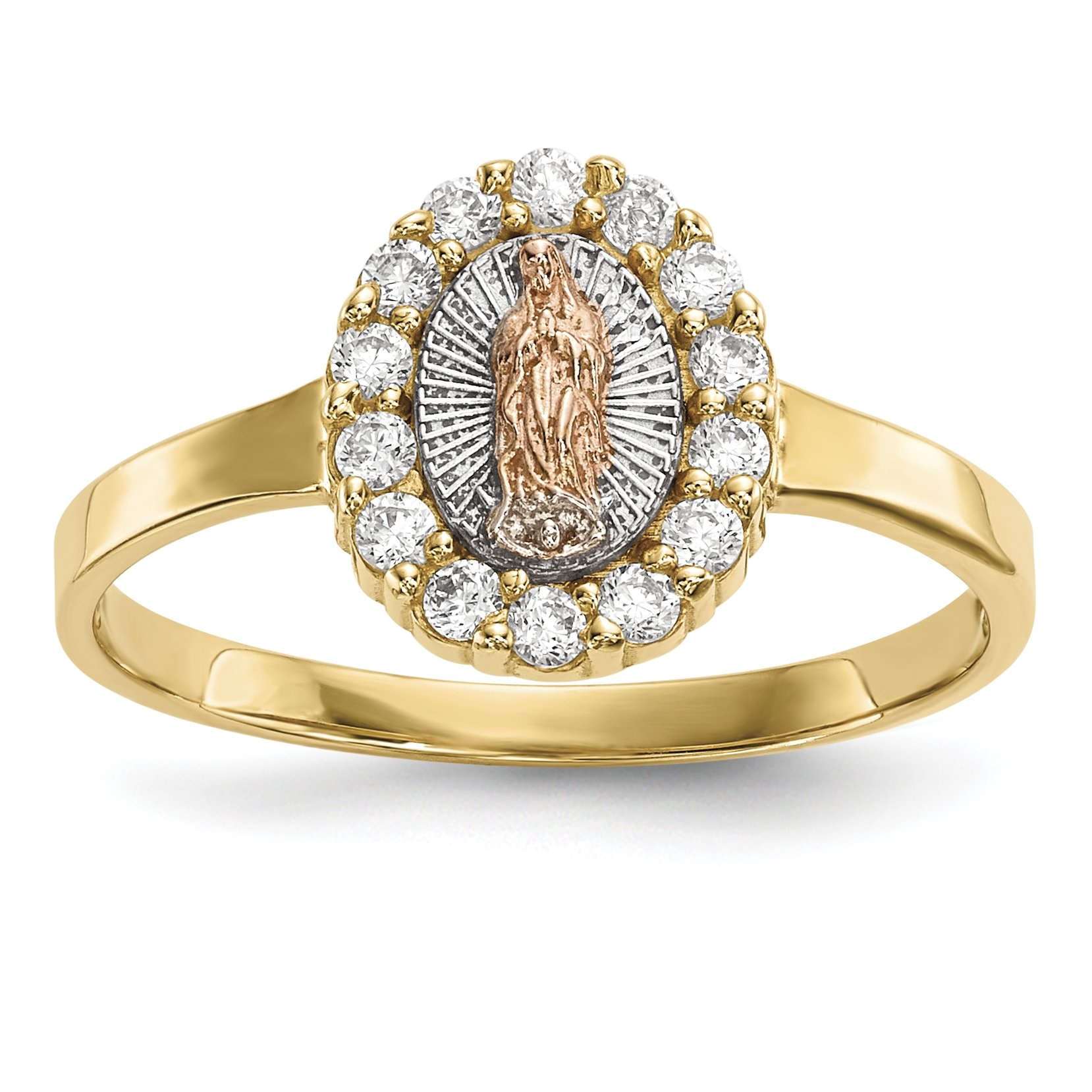 ICE CARATS 14k Two Tone Yellow Gold White Cubic Zirconia Cz Lady Of Guadalupe Band Ring Size 7.00 Religious Fine Jewelry Gift Set For Women Heart