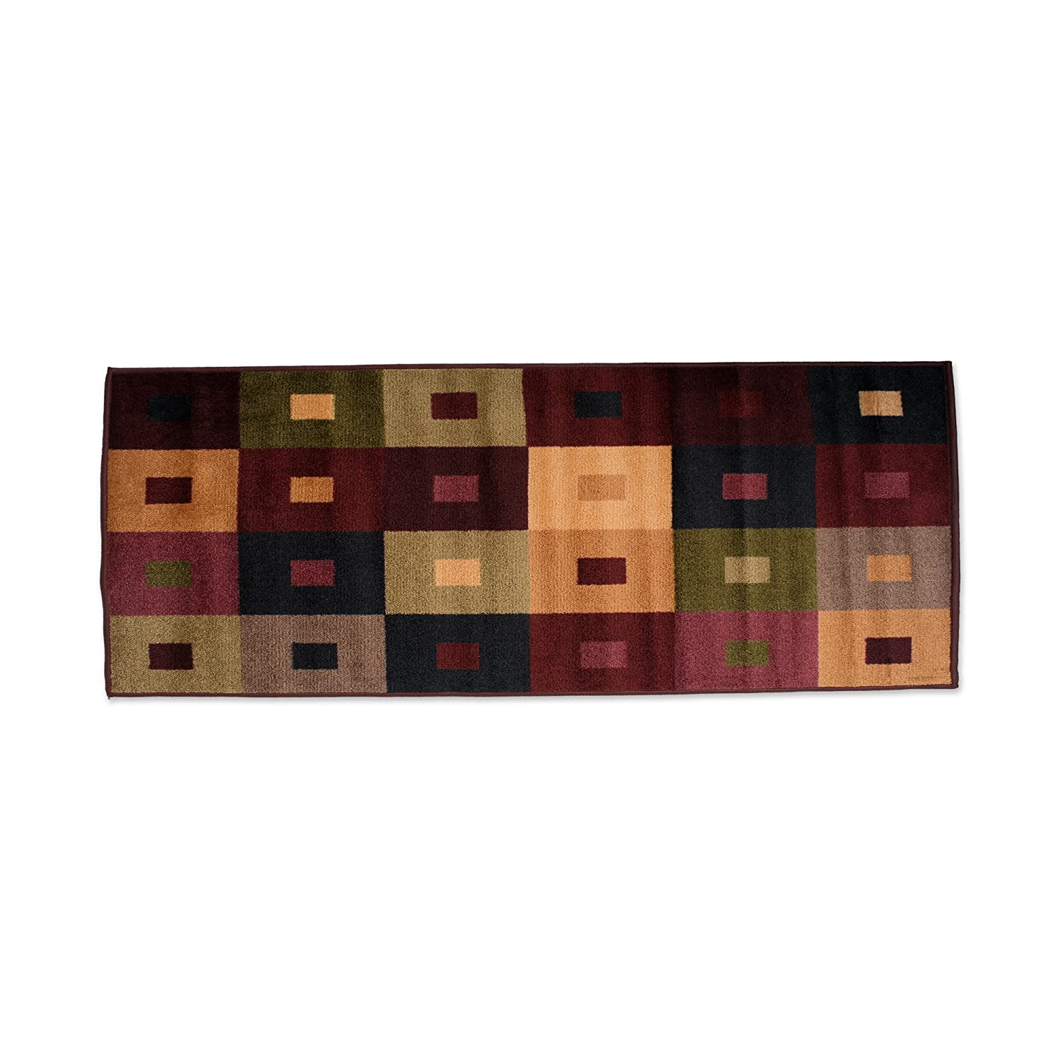 """Fashion Contemporary Non-Skid Runner, 22x60"""", Perfect for Living Room, Kitchen, Bed Room, Loft, Office and more-Squares"""
