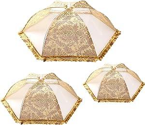 Sumtxuni Food Tent Covers, Mesh Screen Food Net Cover Umbrella for Kitchen Outdoor Camping Picnics, Set of 3 (M+L+XL)