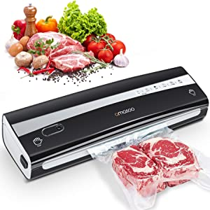 AMASOO Vacuum Sealer Machine, Automatic Food Saver Vacuum Sealer for Food Preservation, Containers, Sous Vide | One-Touch Operation | Dry & Moist Food Modes | Led Indicator Lights | w/Advanced Kit, Bags, Cutter, Vacuum Hose, Wine Stopper | Compact Design | ETL Certified (Black)