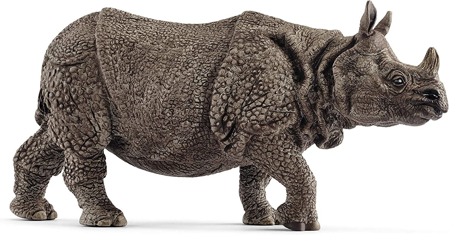 SCHLEICH Wild Life, Animal Figurine, Animal Toys for Boys and Girls 3-8 Years Old, Indian Rhinoceros