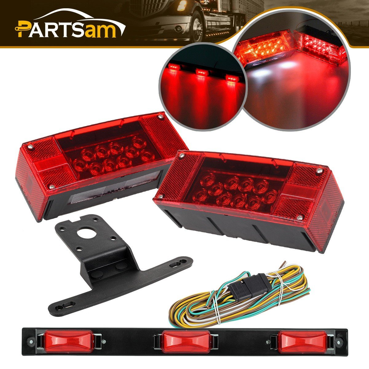 Led Over 80 Wide Trailer Light Kit Submersible Tail And Wiring Harness License Stop Turn