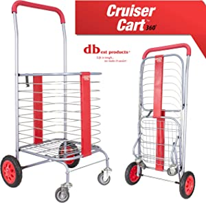 dbest products Cruiser Cart 360 Shopping Grocery Rolling Folding Laundry Basket on Wheels Foldable Utility Trolley Compact Lightweight Collapsible, Red