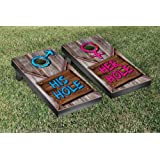 His Hole Her Hole Wooden Sign Cornhole Game Set