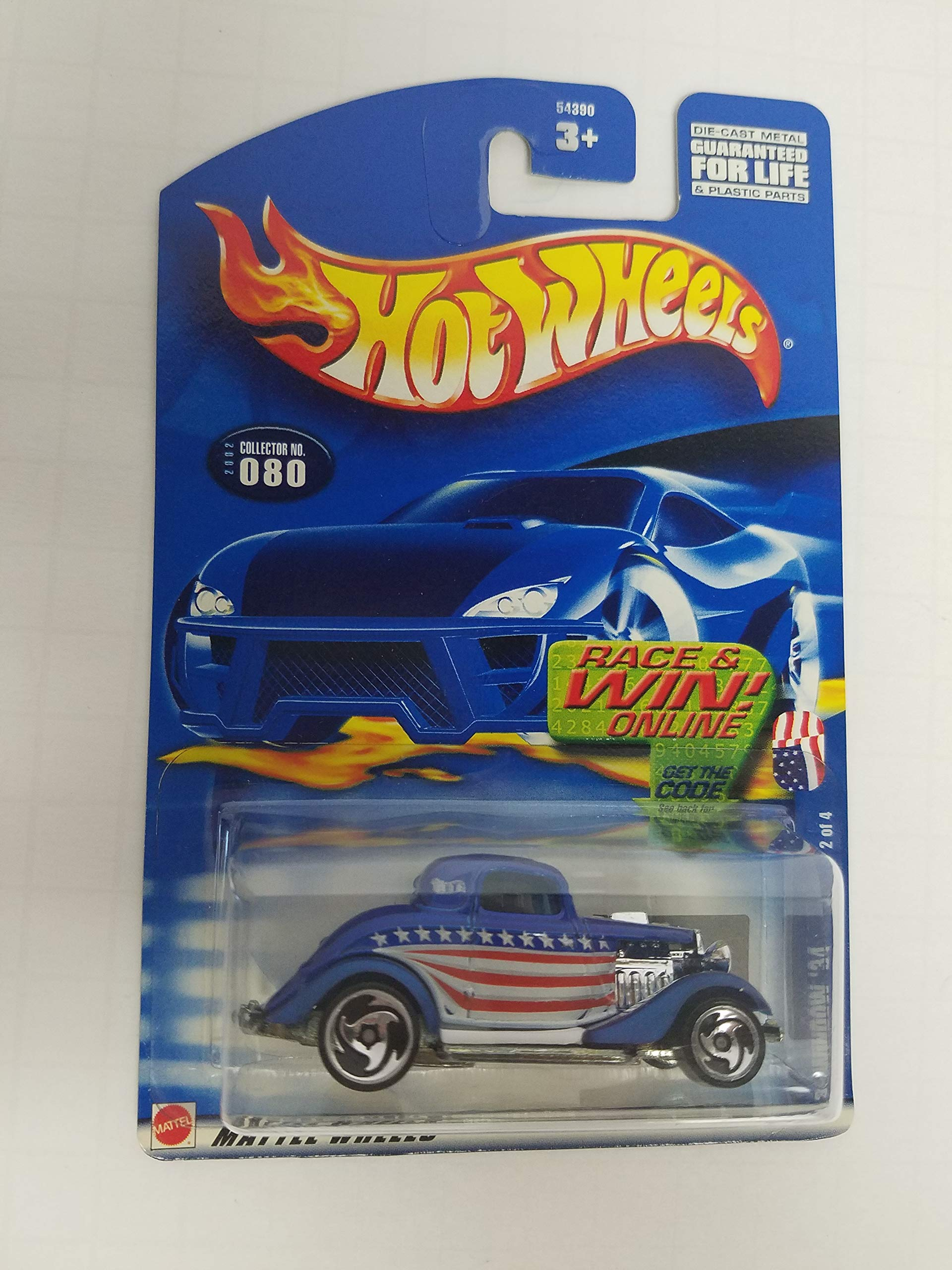 3 Window '34 Hot Wheels 2002 diecast 1/64 scale car No. 080