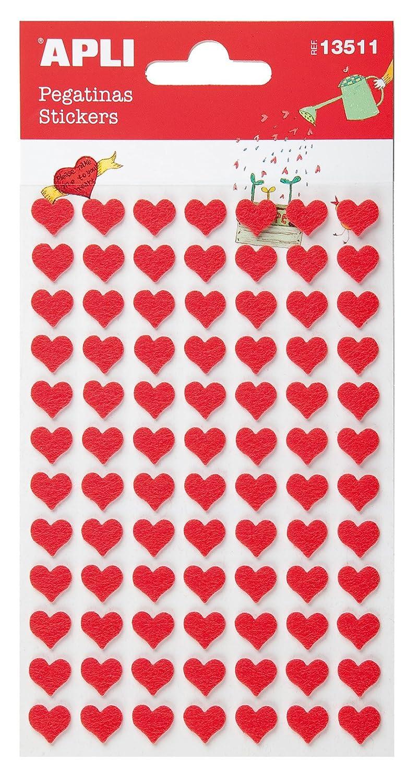 APLI - Bolsa de pegatinas fieltro corazón rojo 2 hojas 13511