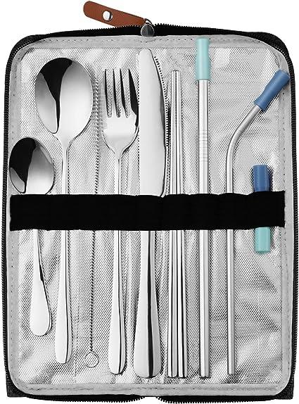 Mividas Utensilios de viaje reutilizables cubiertos con funda, 9 piezas, juego de cubiertos de acero inoxidable portátil con funda para camping