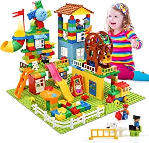 iHaHa 307 Pieces Kids Building Block Set, Classic STEM Building Toys with 4 Baseplate, Windmills and Swings Compatible with All Major Brands for Kids Boys Girls Toddlers Ages 3+