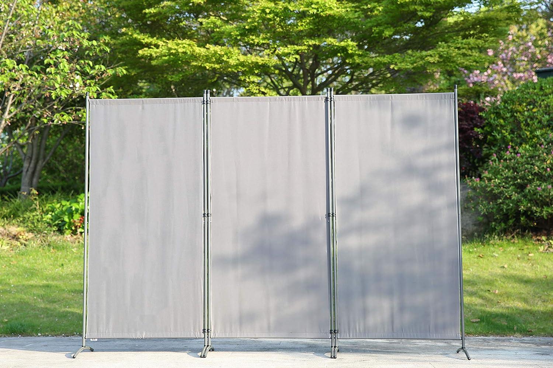 Separador de Ambientes Plegable 250X170 cm Decoraci/ón Elegante Beige Divisor de Habitaciones Angel Living Biombo Grande de 3 Paneles