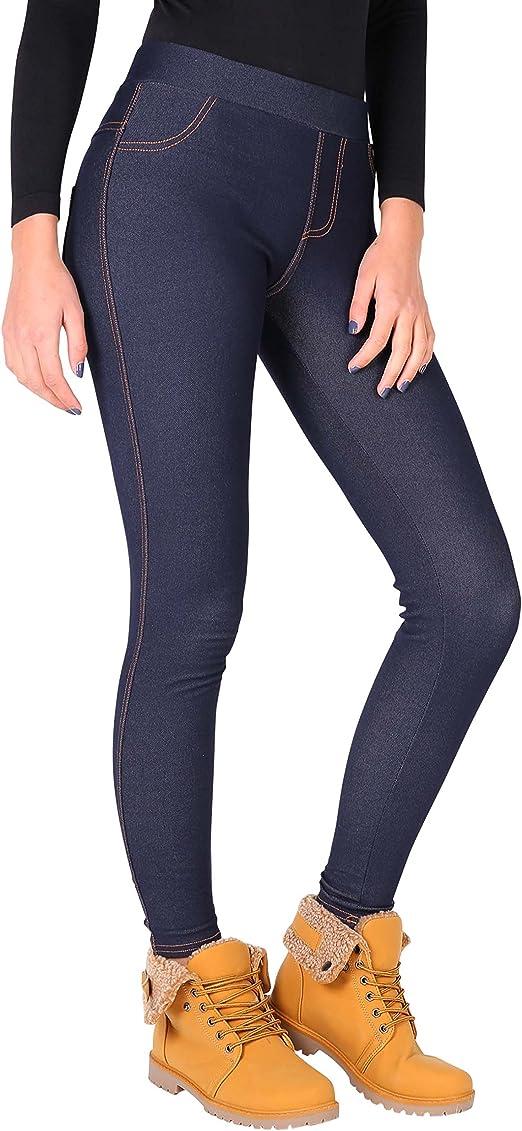 Damen Gefütterte Thermo Leggings Jeggings Jeans Stretch Hose