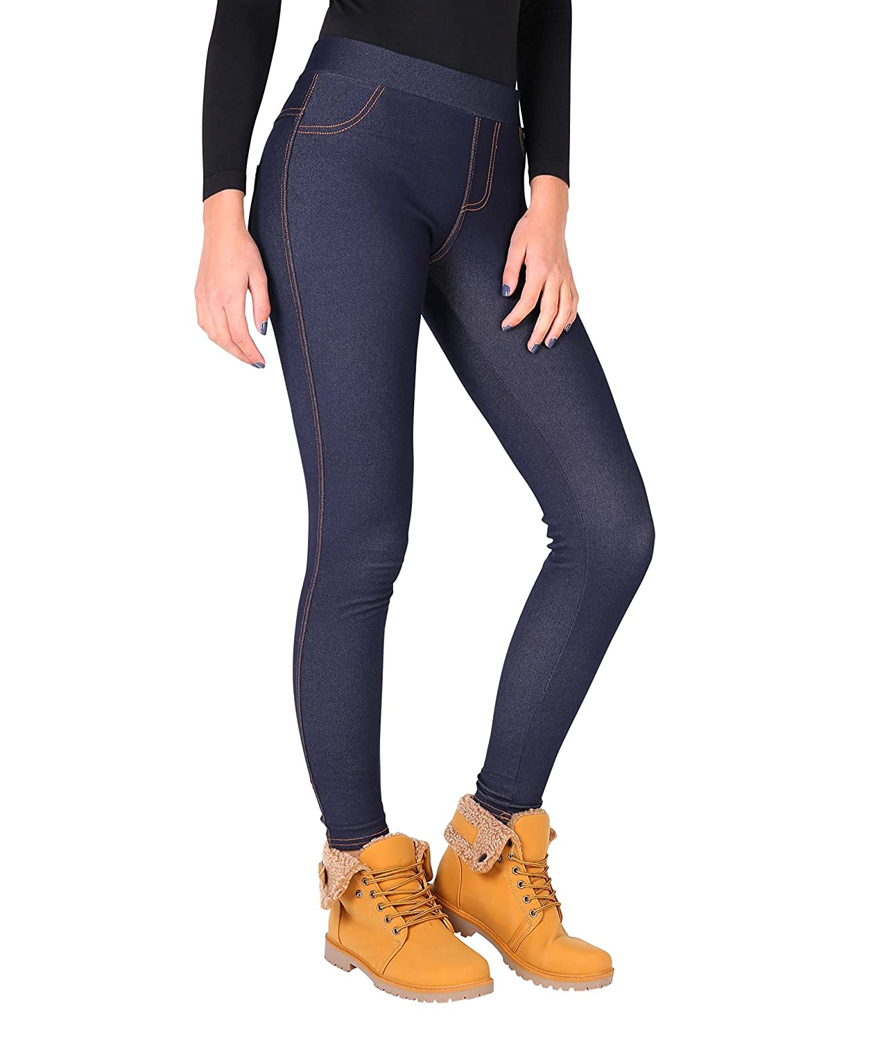 KRISP Damen Wet Look Leggings Hose in Leder Optik