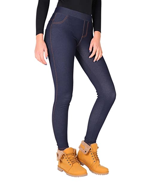 4bfccf3402f2c1 Amazon.com: KRISP Womens Fleece Lined Denim Jeggings Navy: Clothing