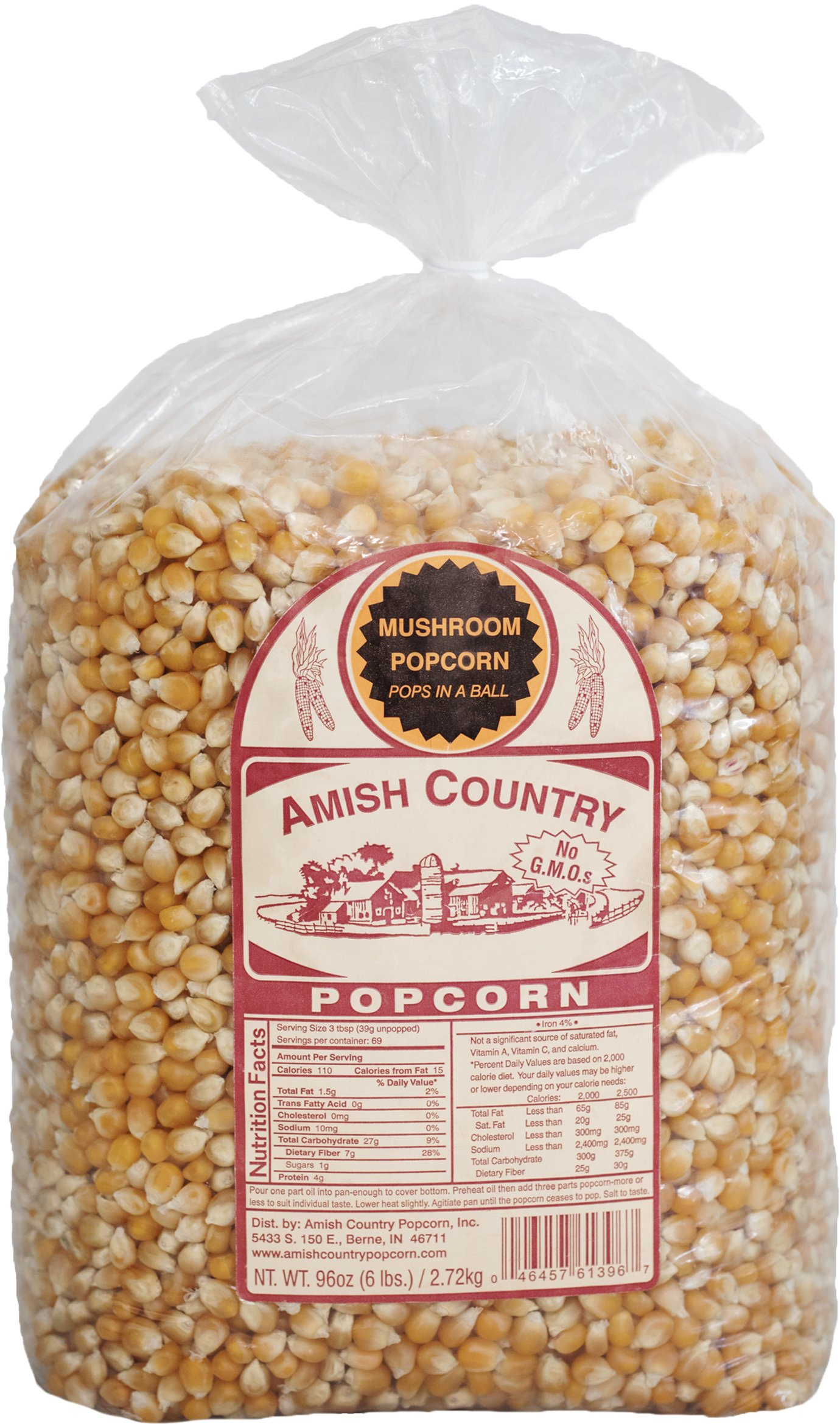 Amish Country Popcorn - Mushroom Popcorn (6 Pound Bag) - Old Fashioned, Non GMO, Gluten Free, Microwaveable, Stovetop and Air Popper Friendly - with Recipe Guide