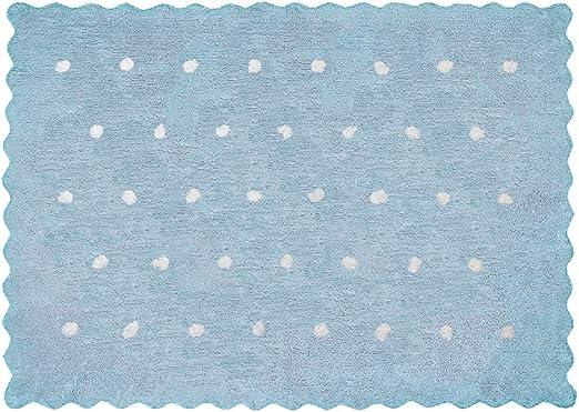 Lilipouce Alfombra Infantil algodón pequeños Lunares, Tela, Azul Celeste, 120x160 cm: Amazon.es: Hogar
