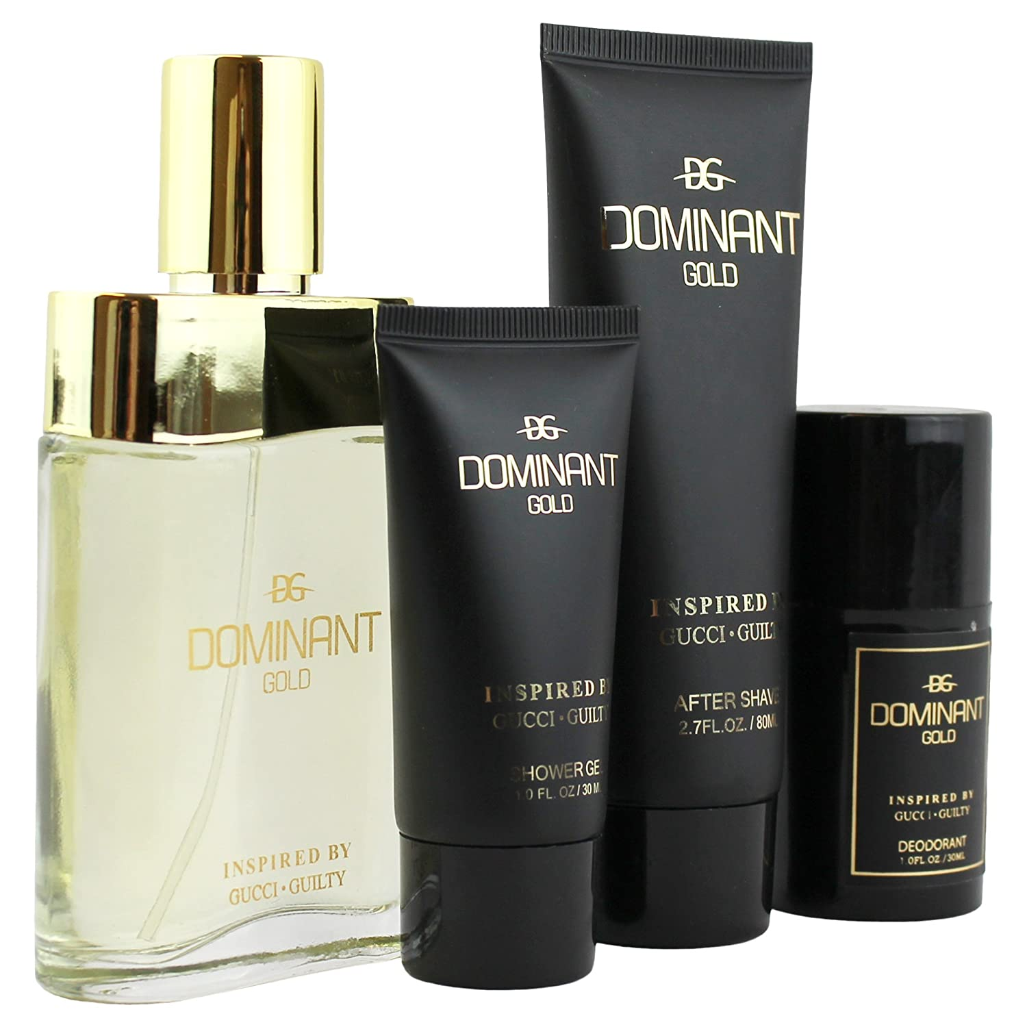 Amazon.com : Dominant Gold 4 Piece Fragrance Gift Set, Includes. Perfume, After Shave, Shower Gel And Deodorant Inspired By Guilty : Beauty