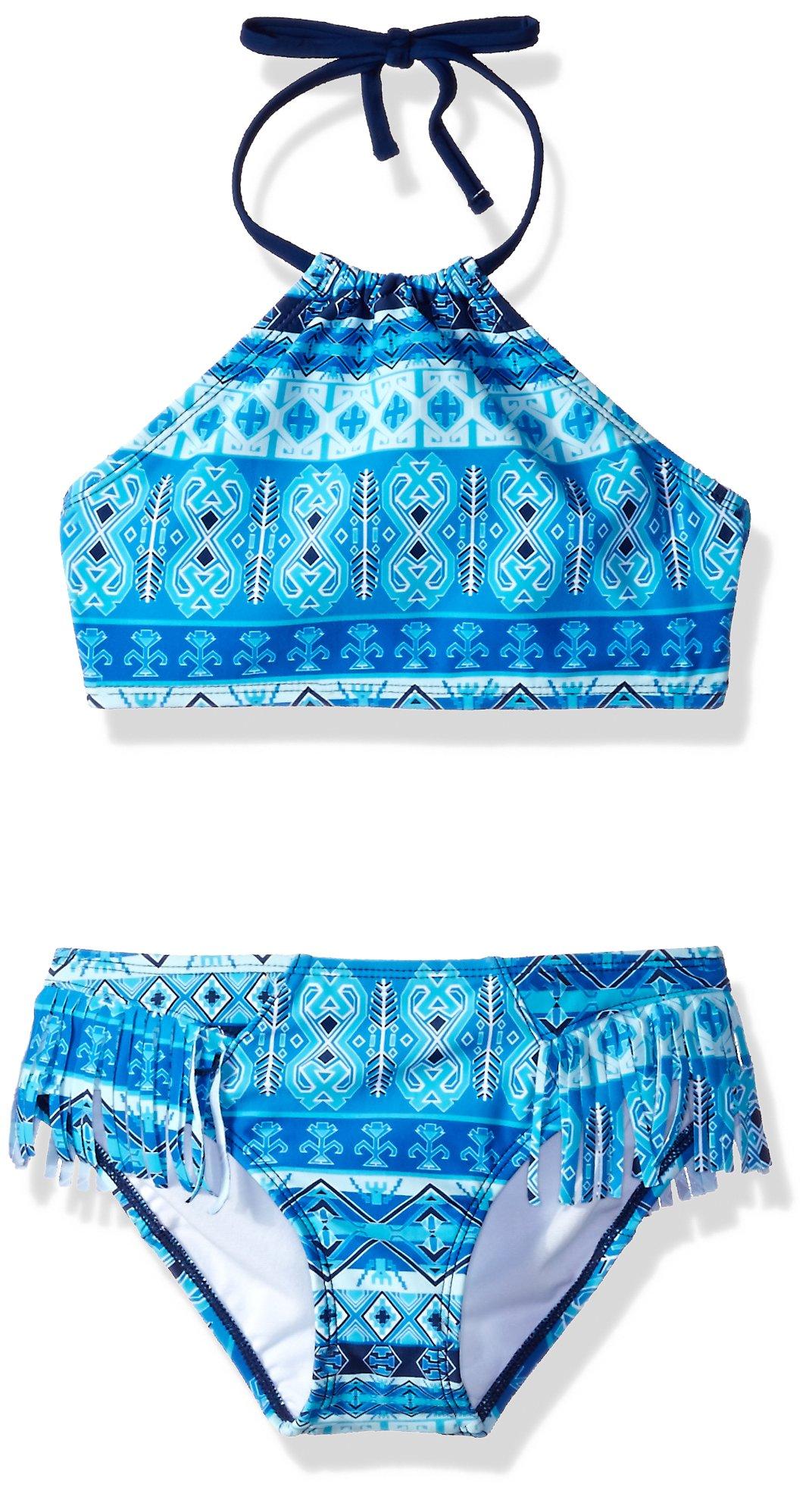 Kanu Surf Big Girls' Mahina Halter Bikini Beach Sport 2-Piece Swimsuit, Blue, 12
