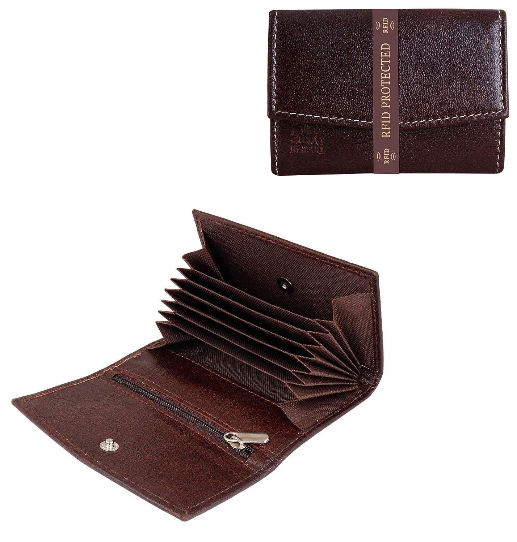 f3d191156e38 HEBBULI Brown Credit Card Holders for Men Women Genuine Leather ...