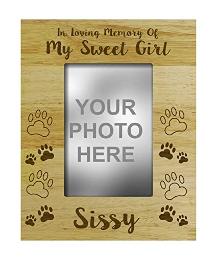 Darling Souvenir Loss Of A Pet Gift - Personalized Wood Engraved Dog  Memorial Picture Frame In Loving Memory Customizable Quote- 4 x 6 Inches  Vertical