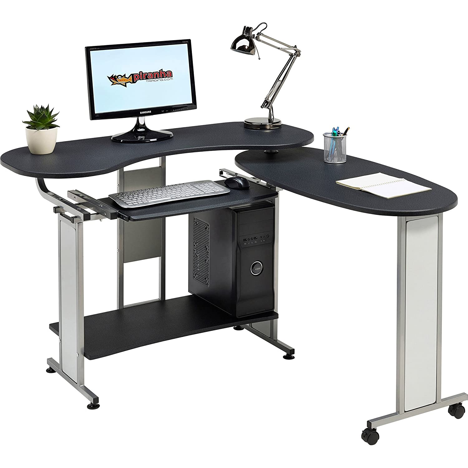 Compact Folding Computer And Writing Desk With Sliding Keyboard Shelf In  Graphite Black Effect For Home Office   Piranha Mako PC 3g: Amazon.co.uk:  Kitchen U0026 ...