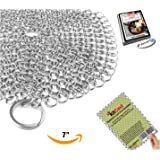 """KitCast The Original 7"""" Stainless Steel Cast Iron Cleaner Chainmail Scrubber for Cast Iron Pan Pre-Seasoned Pan Dutch Ovens Waffle Iron Pans Scraper Cast Iron Grill Scraper Skillet Scraper (KCC316)"""