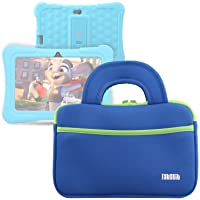 "TabSuit 7"" Tablet Bag Compatible for Dragon Touch Y88X Plus/Y88X/M7 Kids Tablet, Dragon Touch S7/S8 Tablet Ultra-Portable Neoprene Zipper Carrying Sleeve Case Bag with Accessory Pocket- Blue"