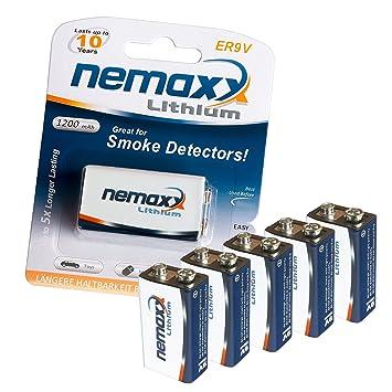 5X Nemaxx batería de 9 voltios de Litio para detectores de Humo con 10 años de duración: Amazon.es: Electrónica