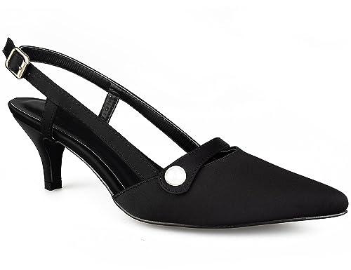 4051c3e8bc9a28 Greatonu Womens Pointed Toe Slingback Dress Court Shoes: Amazon.co ...
