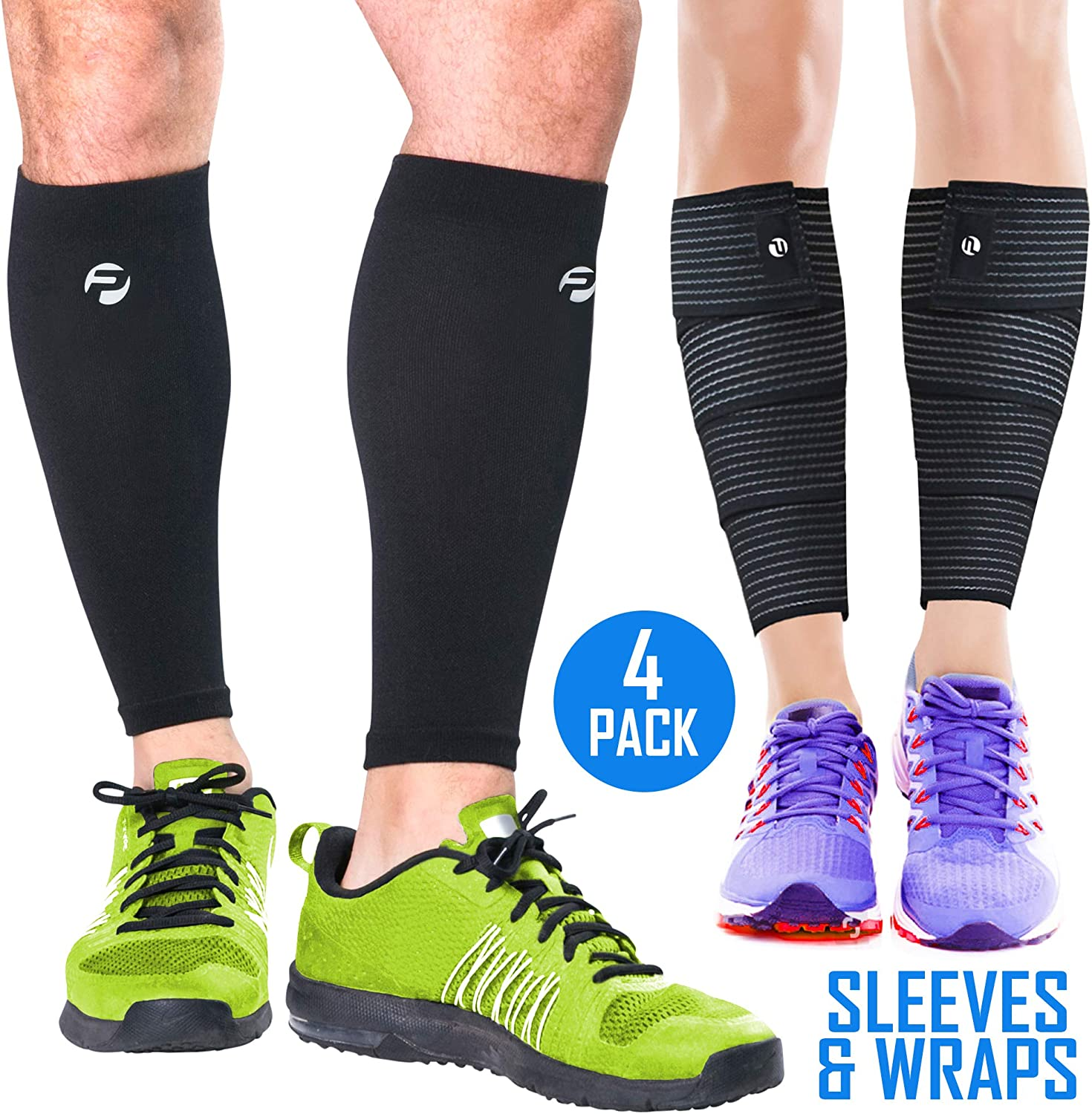 Calf Compression Sleeves and Leg Wraps (4 Piece) Shin Splint Support, Calve Guards for Men and Women - Braces Provide Healthy Circulation Pain Relief for Running, Basketball, Cycling, Maternity: Sports & Outdoors