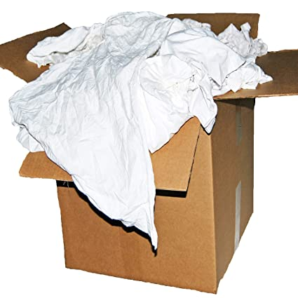 Amazon.com  50 Lb. Box of Reclaimed White Cotton T-Shirt Rags ... a449f4ba603