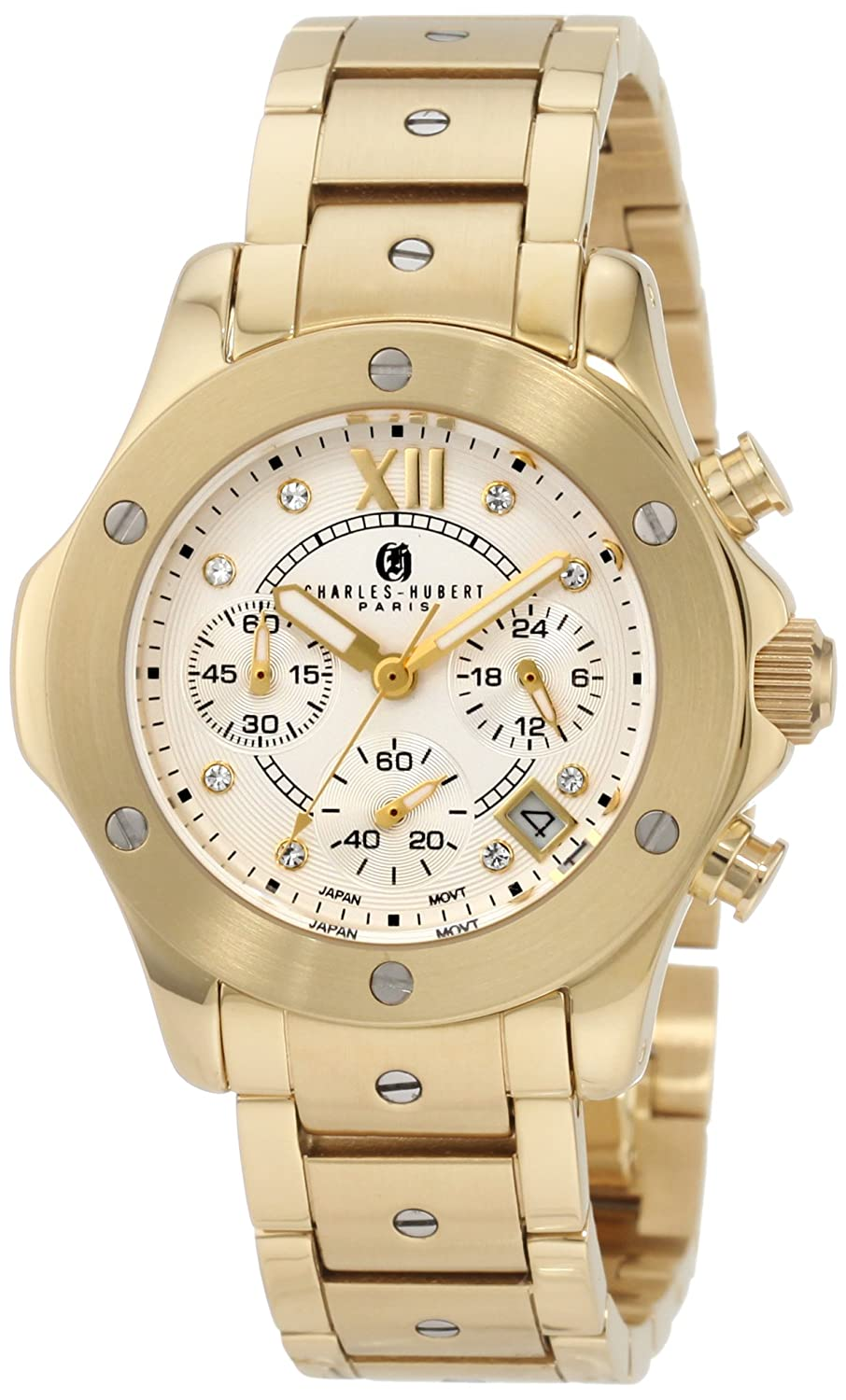 Damen Charles - Hubert Silver Dial Chronograph Armbanduhr GLD-PLATED