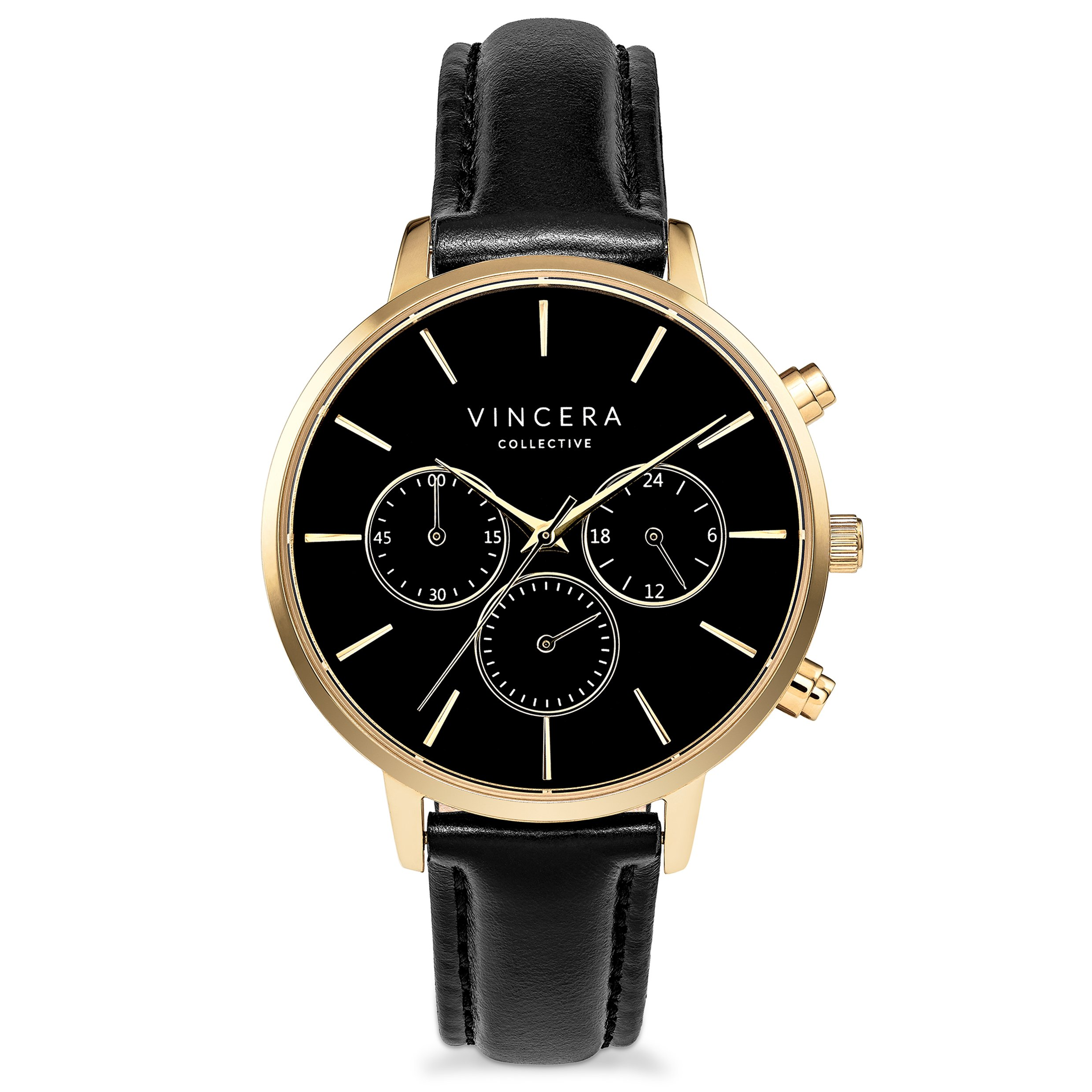 Vincero Luxury Women's Kleio Wrist Watch - Yellow Gold + Black Dial with a Black Leather Watch Band - 38mm Chronograph Watch - Japanese Quartz Movement by Vincero