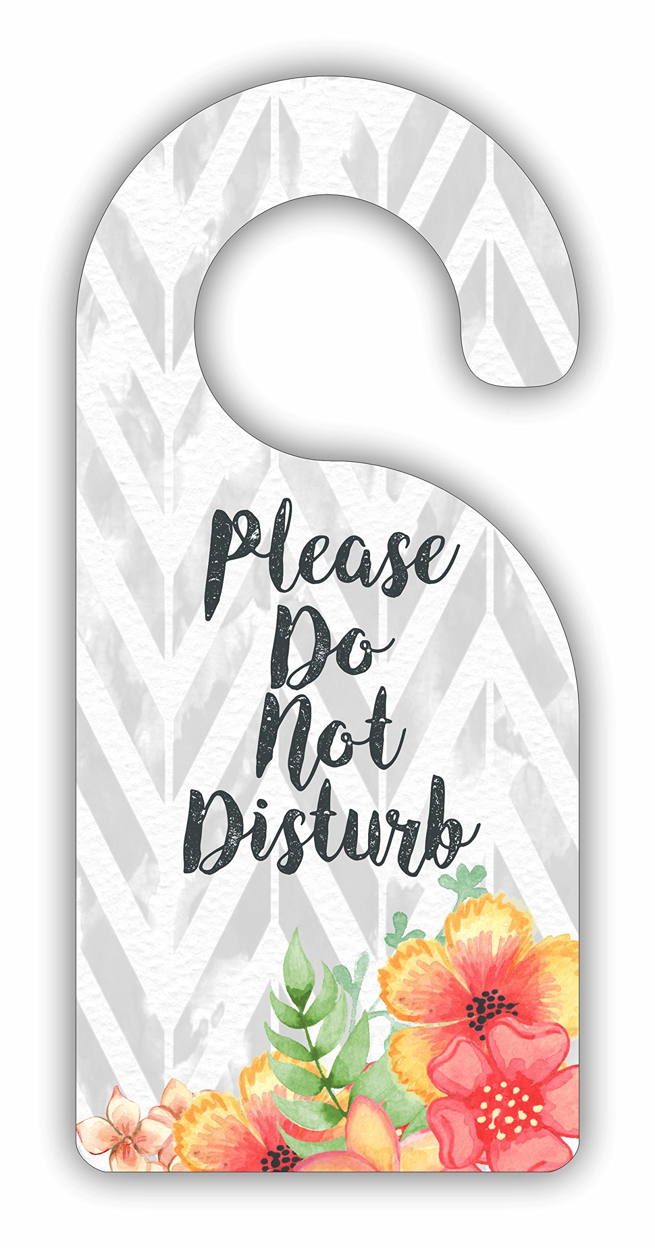 Please Do Not Disturb - Flowers on Chevrons - Room Door Sign Hanger - Hardboard - Glossy Finish