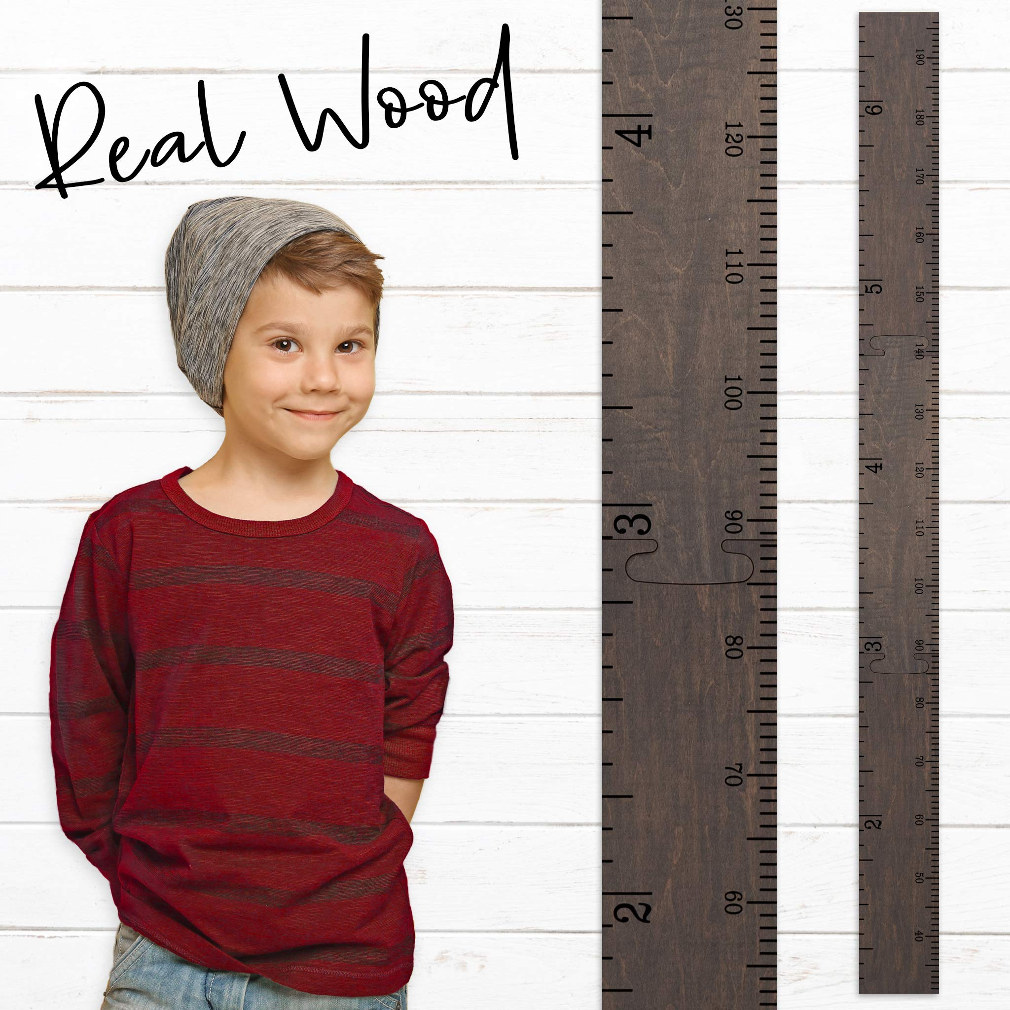 Growth Chart Art Schoolhouse Wooden Ruler Growth Chart for Kids, Boys & Girls (Gray Washed) by Growth Chart Art