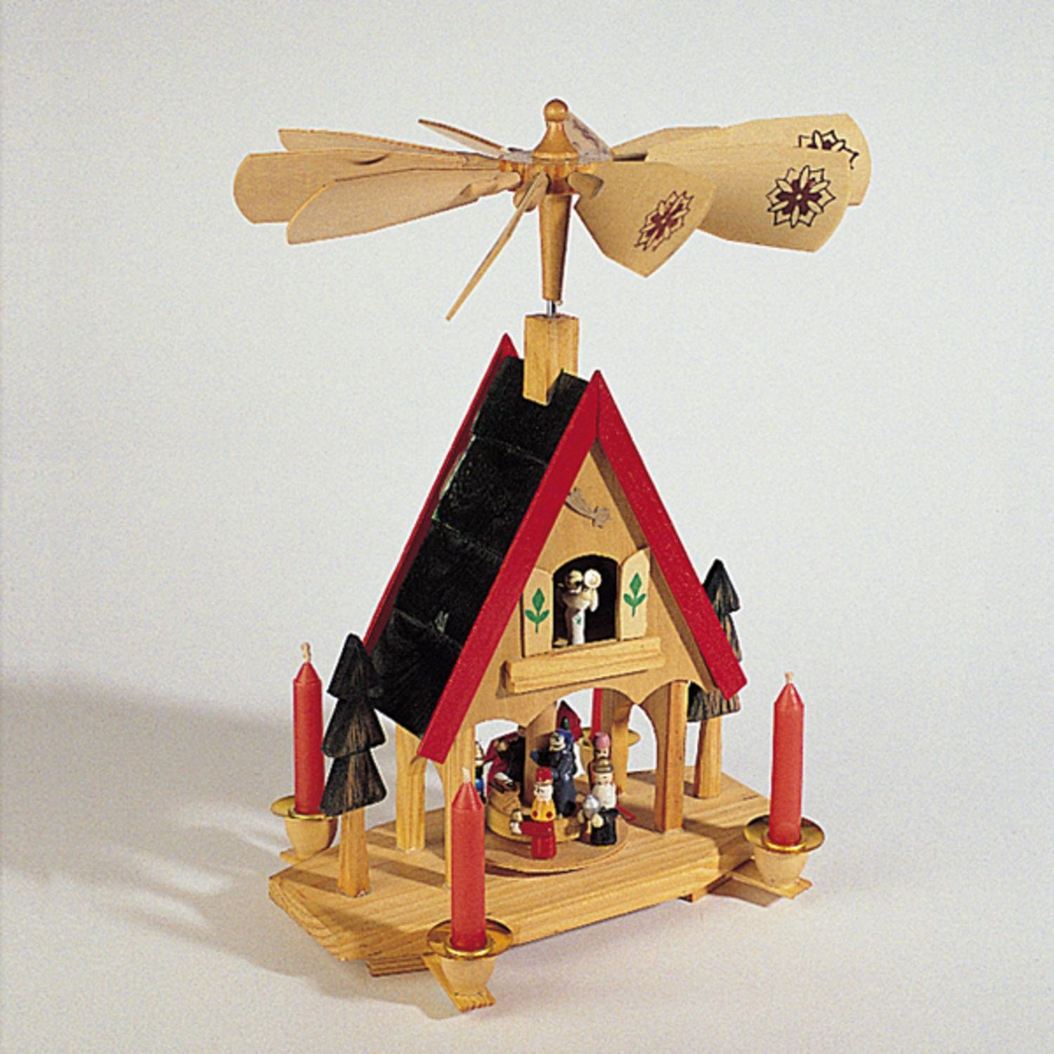 KSA 12'' Wooden Alpine Windmill Christmas Nativity Carousel Table Top Candle Holder