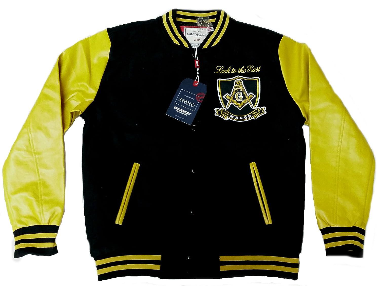 新しい。ブラックMason Look to the East刺繍Varsity DefectedジャケットサイズM B077RNPNRZ