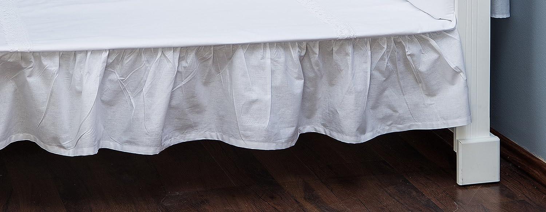 Vizaro - JUPE DE LIT EBOURRIFÉE/DRAP HOUSSE pour décorer le LIT BÉBÉ 70x140cm - 100% COTON - Fabriqué en UE pas de substances nocives - PRODUIT SÛR - Collection Broderie Blanche