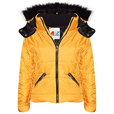 d2f0ebef1e5 A2Z 4 Kids® Kids Girls Jacket Designer's Mustard Stylish Cropped Padded  Puffer Bubble Fur Collar Quilted Warm Thick Coat Jackets Age 3 4 5 6 7 8 9  10 11 12 ...